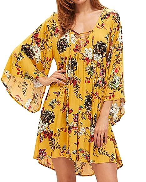 Amazon.com: Kidsform Vestido bohemio para mujer, con ...