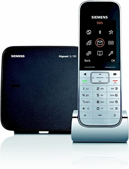 Siemens Gigaset SISL780 - Teléfono fijo inalámbrico, agenda para 500 entradas, conexión al PC vía Bluethooth, color negro y plata: Amazon.es: Electrónica