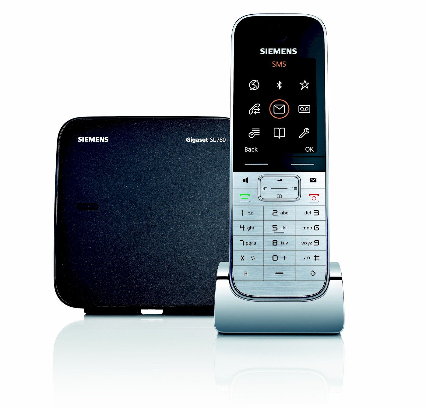 Siemens Gigaset SISL780 - Teléfono fijo inalámbrico, agenda para 500 entradas, conexión al PC vía Bluethooth, color negro y plata