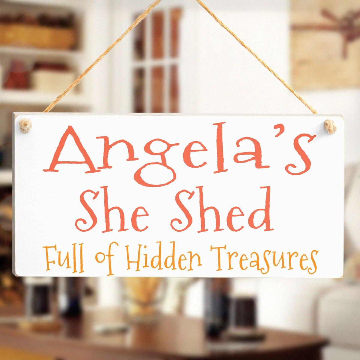 Ella Ella del Cobertizo - Angela cobertizo Full de oculta treasures-personalised cartel de madera regalo: Amazon.es: Hogar