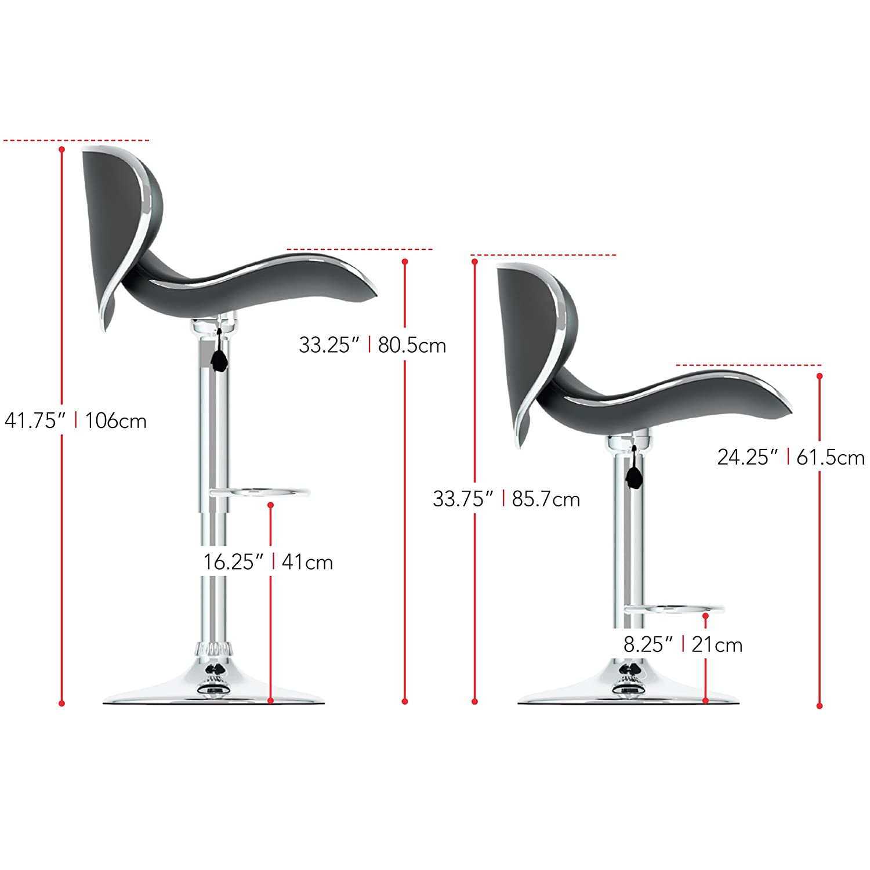Set of 2 White Leatherette CorLiving Curved Form Fitting Adjustable Bar Stool