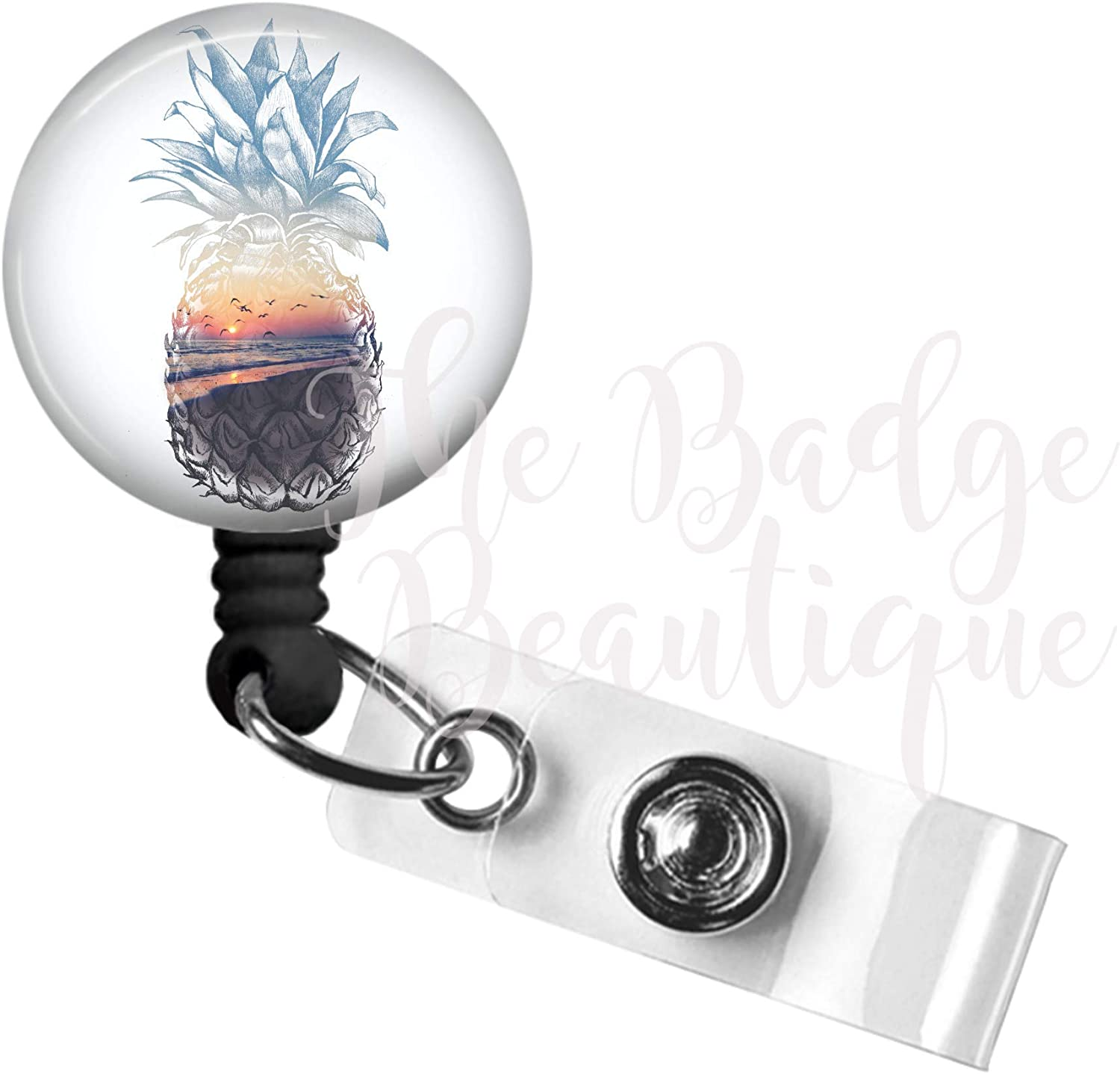 Badge Reel Holds Employee ID Tag Pineapple Sunset Pineapple Retractable ID Badge Pull with Durable Swivel Alligator Clip 34in Nylon Cord for Nurse RN MD PA Teacher Medical Staff
