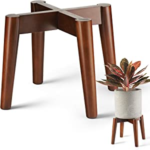 LITADA Plant Stands Mid Century Modern Plant Stand Indoor (Plant Pot NOT Included) Flower Pot Holder Home Decor (DarkBrown-1pcs)