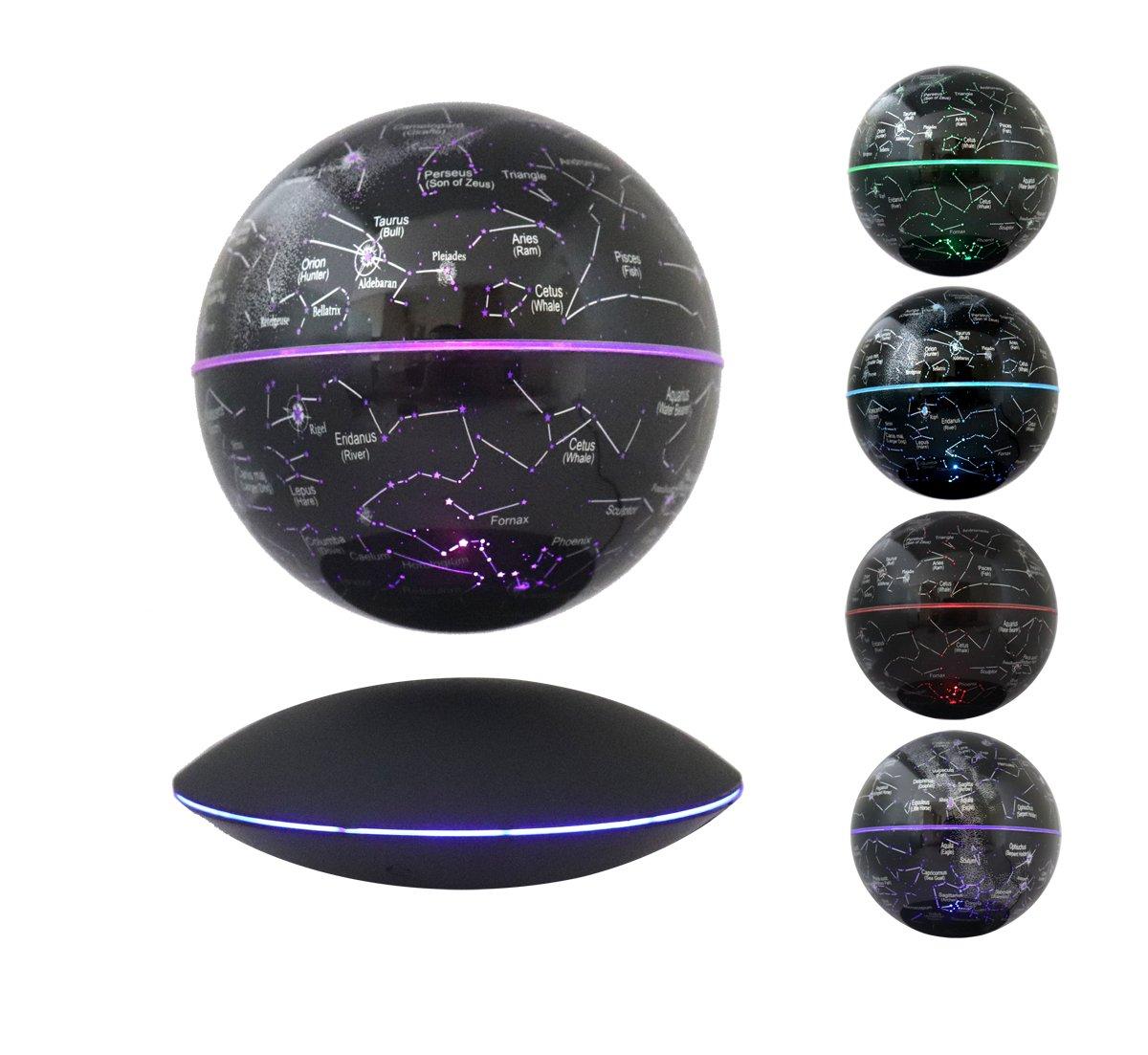 Floating Globe Magnetic Maglev Levitating Levitation Globe Rotating 7-Color LED Change Induction Globe Black Platform Showcase Home Decor Display, by woodlev ¡