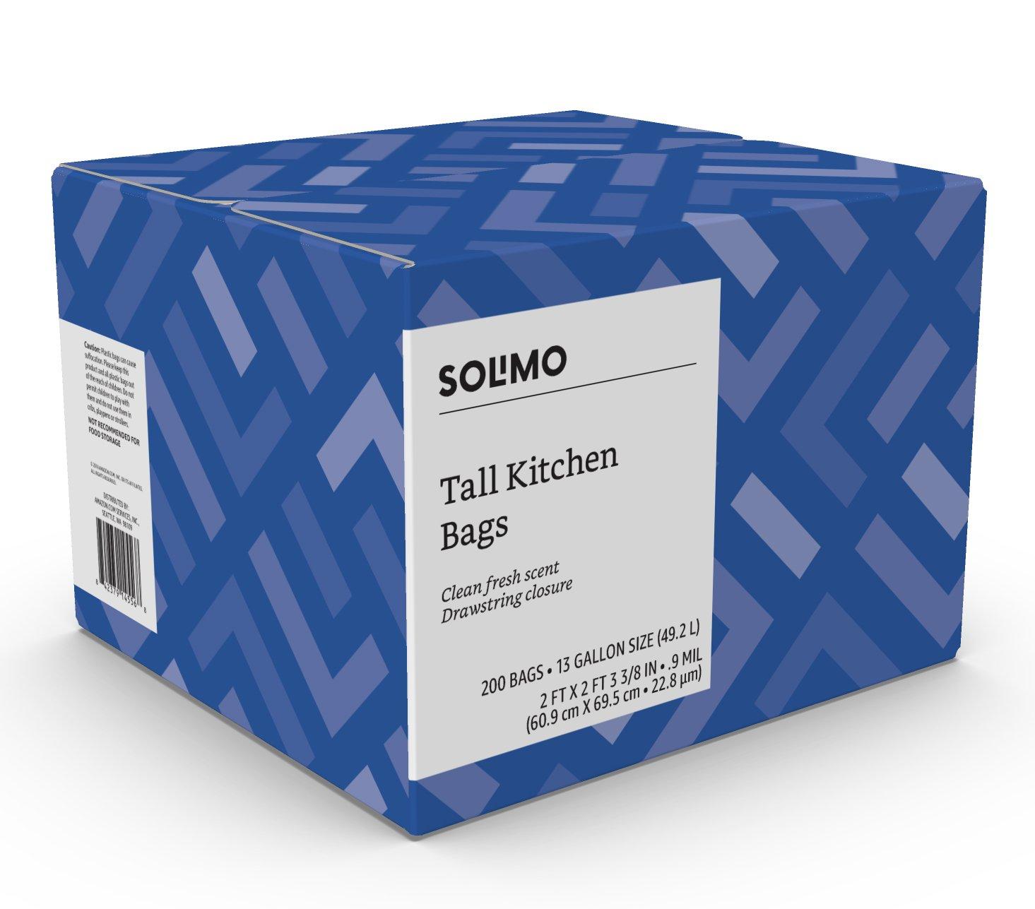 Amazon.com: Amazon Brand - Solimo Tall Kitchen Drawstring Trash Bags ...