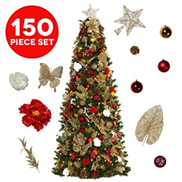 Simple Christmas Tree Decorations To Make.Easy Treezy Assorted Christmas Ornaments Set 152 Piece Seasonal Holiday Decor Decoration Sets For Trees Best Xmas Tree Decorations And Ornaments