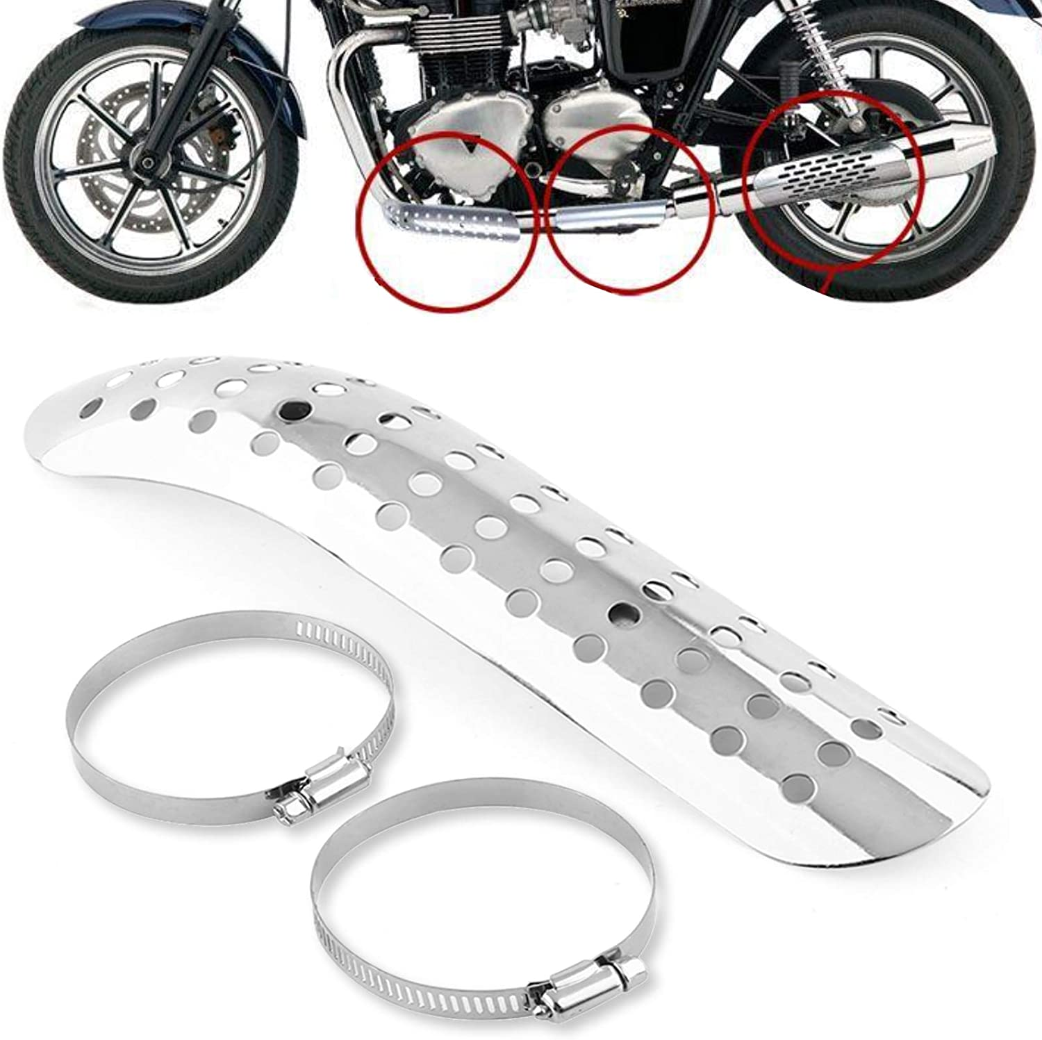 Steel Motorcycle Exhaust Pipe Middle Link Heat Shield Cover Heel Guard Protector