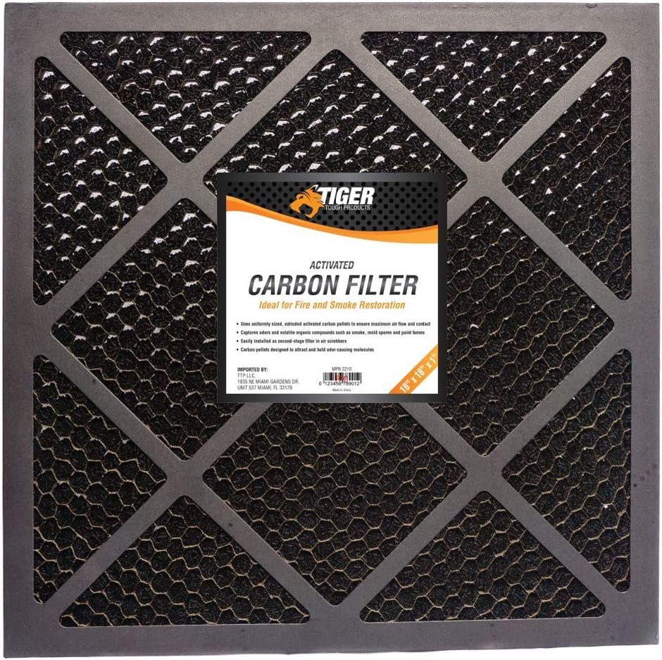 Tiger Tough HEPA 500 Activated Carbon Filter for Air Scrubbers - Ideal for Fire Restoration, Mold Remediation (1, 18 x 18 x 1)
