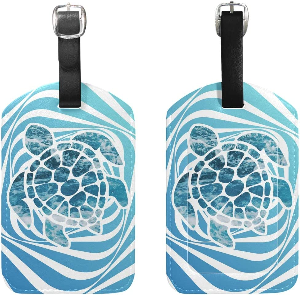 Set of 1 Travel Ocean Sea Turtle Leather Luggage Tags with Black Strap