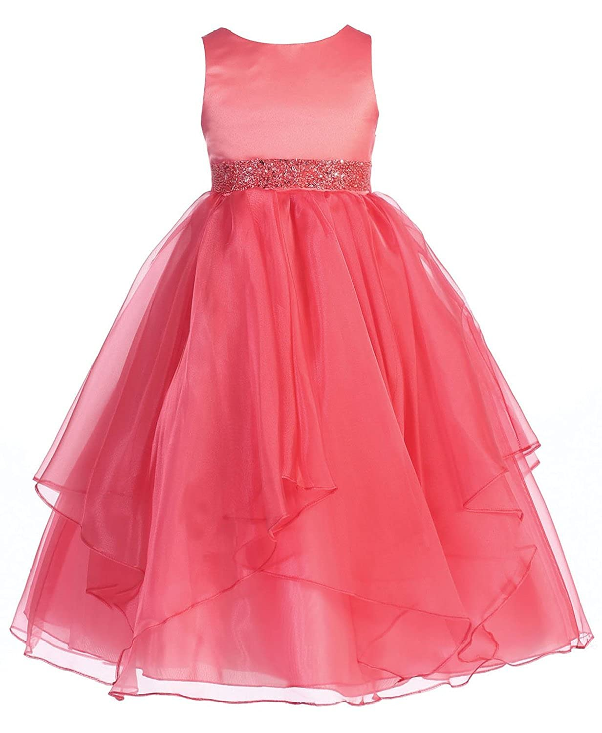 87189c6e260 Top1  Chic Baby Girls Asymmetric Ruffles Satin Organza Flower Girl Dress