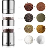Aicok Salt and Pepper Mill Grinder 2-in-1, Dual Mills Brushed Stainless Steel Pepper and Salt Mill with Adjustable Ceramic Grinding Mechanism and Acrylic Body,Stainless Steel Salt Grinder Salt Mill