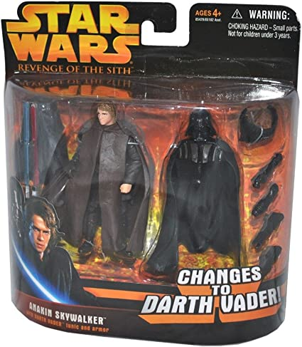 Amazon Com Star Wars Episode Iii 3 Revenge Of The Sith Anakin Skywalker Changes To Darth Vader Deluxe Action Figure Accessory Set Toys Games