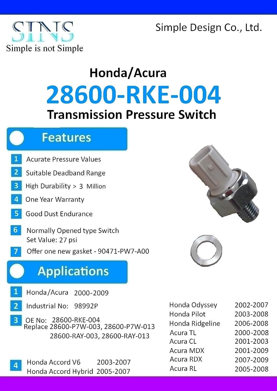 Honda Odyssey Acura TL Transmission Pressure Switch 28600-RKE-004