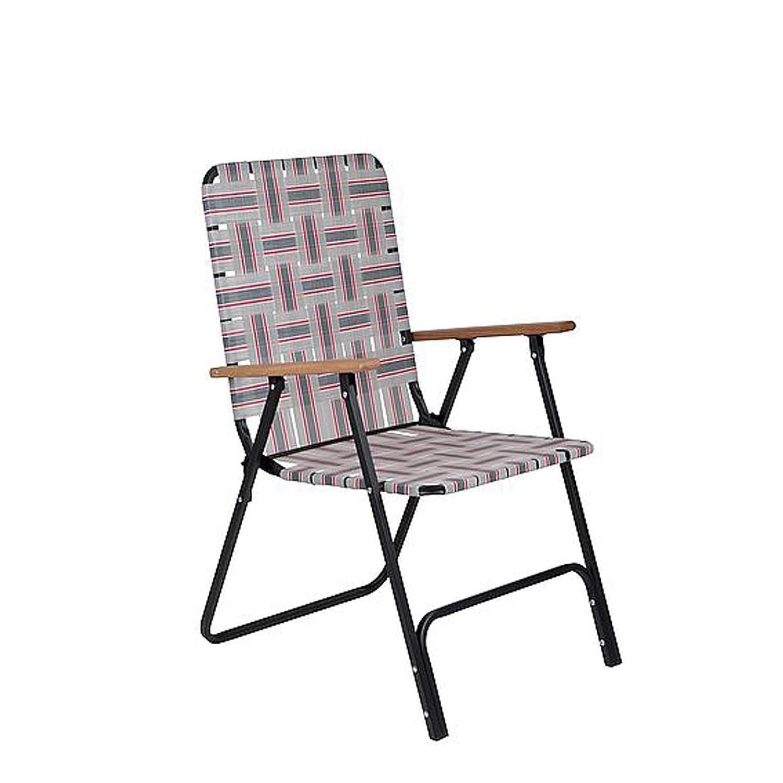 0618 Campingstuhl Klappsessel im Retro-Look leicht und kompakt mit Polyester-Bezug rot, grau • Klappstuhl Faltstuhl Gartenstuhl Stuhl Outdoor Sitz