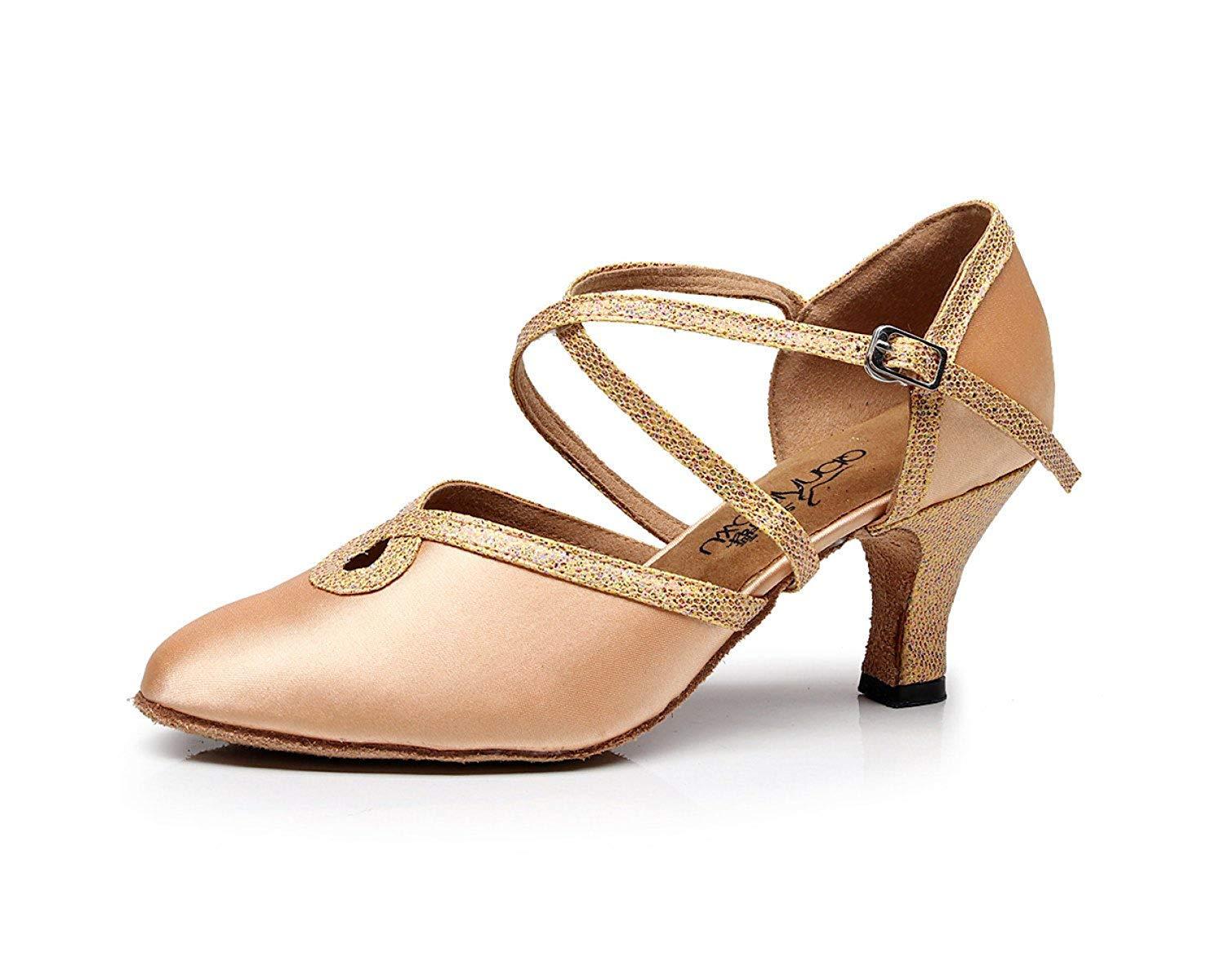Yingsssq damen Latin Dance Closed Toe Hohe Ferse Tango Chacha Samba Modern Jazz Schuhe Sandalen Braun-Absatz 6cm-UK4   EU35   Our36