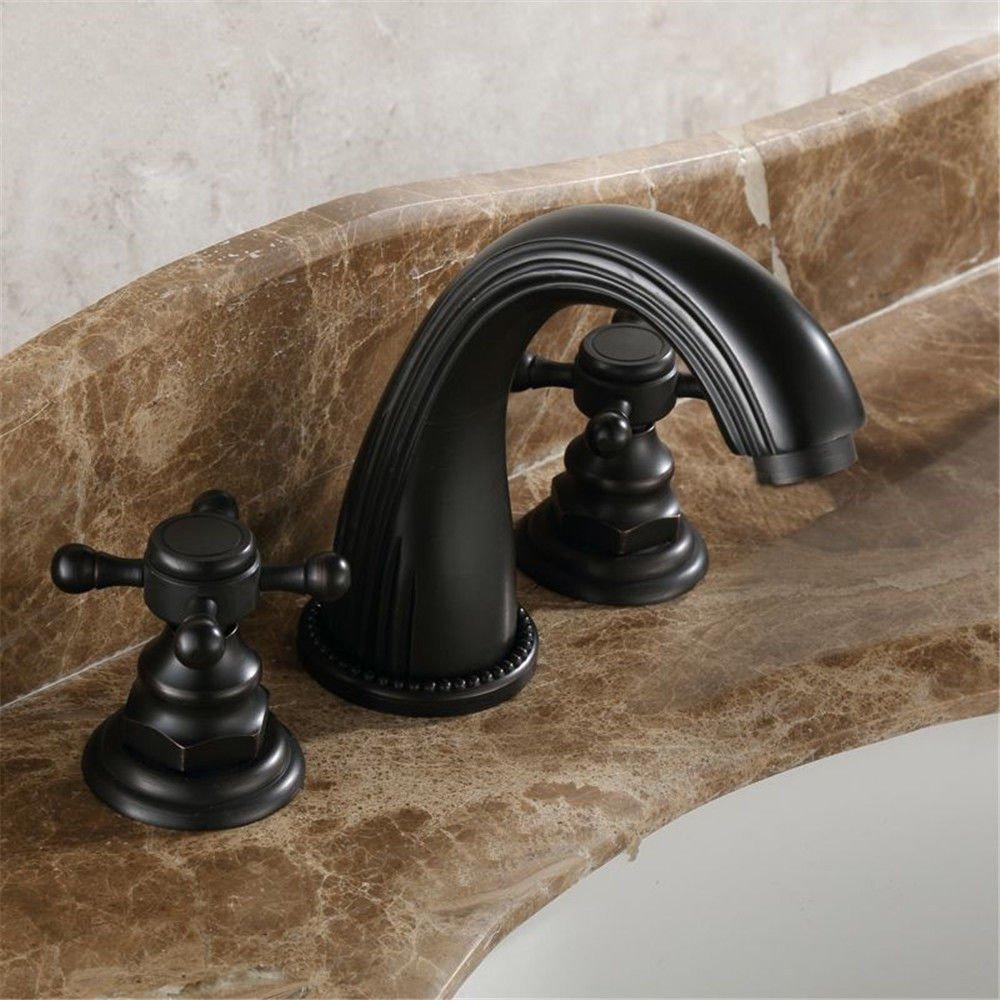 NewBorn Faucet Küche oder Badezimmer Waschbecken Mischbatterie Badewanne Leitungswasser Waschen Schwarz Antik Kupfer heiße und Kalte Volle Drei Loch Badewanne Wasser C Tippen