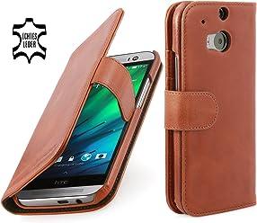 StilGut Housse en cuir Talis pour HTC One M8 & HTC One M8s avec compartiments pour cartes, en cognac