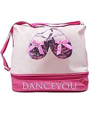 DANCE YOU Bolsa de Ballet Danza Deportes para Niña Tote Bolsa de satén Personalizada Bordada Princesa