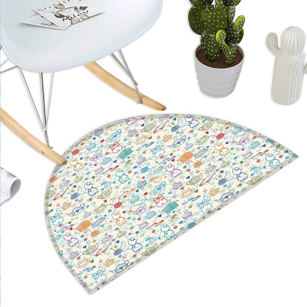 color13 H 19.7  xD 31.5  Tea Party Semicircle Doormat Monochrome Style Tea Time Doodle with Pot Cups and Cookies Pattern Monochrome Halfmoon doormats H 27.5  xD 41.3  Grey White