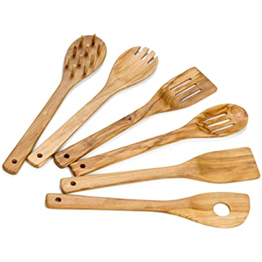 Hudson Essentials Olive Wood Cooking Utensils Set - 6 Piece Hand Made Natural Cooking Tools - Includes Slotted, Pasta and Stirring Spoons, Spatulas, and Spork (6 Piece Set)