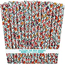 Outside the Box Papers Vintage Look Floral Paper Straws 7.75 Inches 75 Pack Pink, Purple, Yellow, Green, Orange