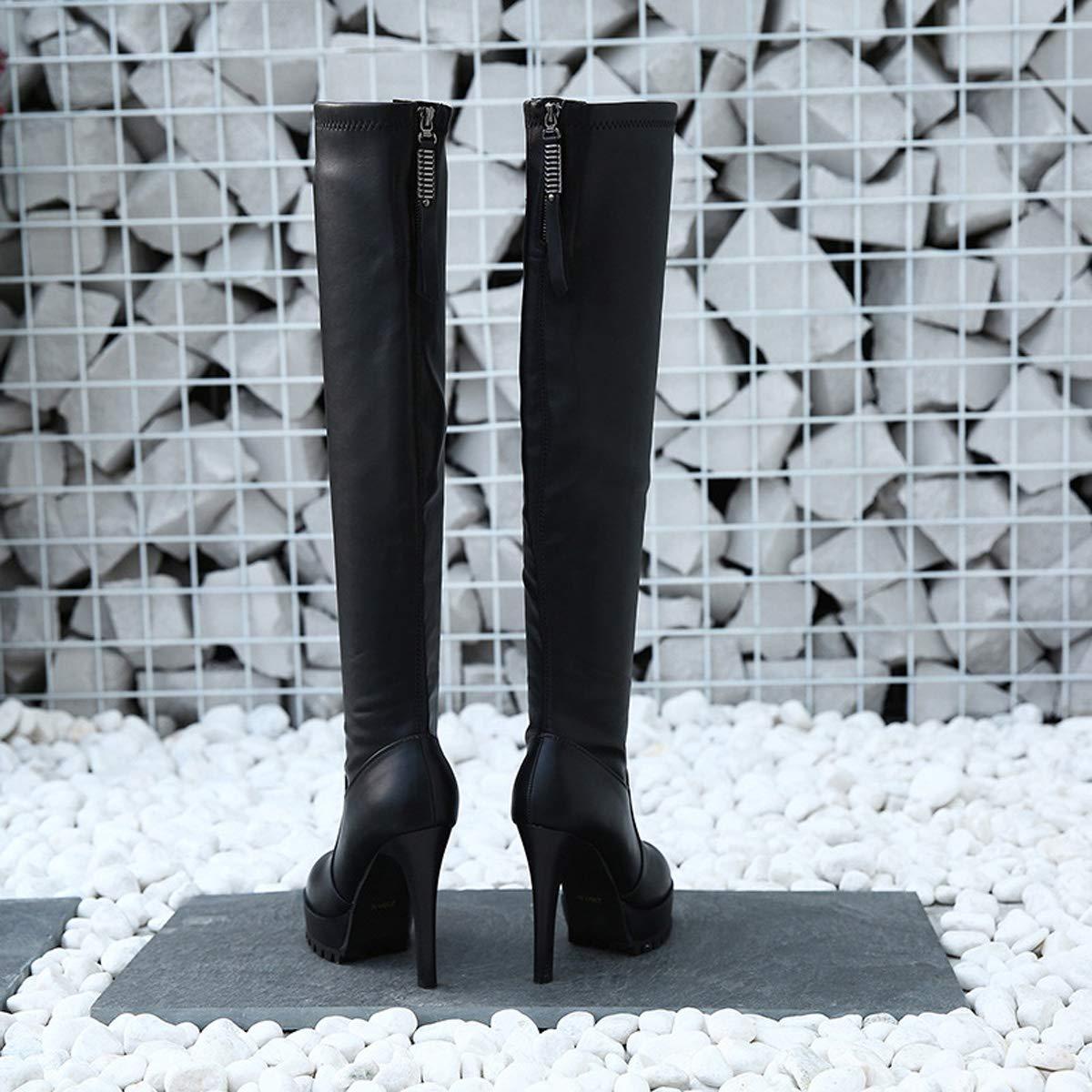 DANDANJIE Damen Overknee-Stiefel Plattform Stiletto Absatz Absatz Absatz Casual Stiefel Damen High Heel Mode Stiefel schwarz,schwarz,35EU 443abc