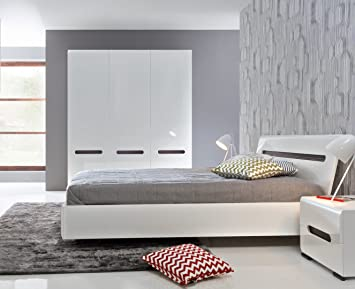 Euro Interiors Blanc Brillant Ensemble De Meubles De Chambre A