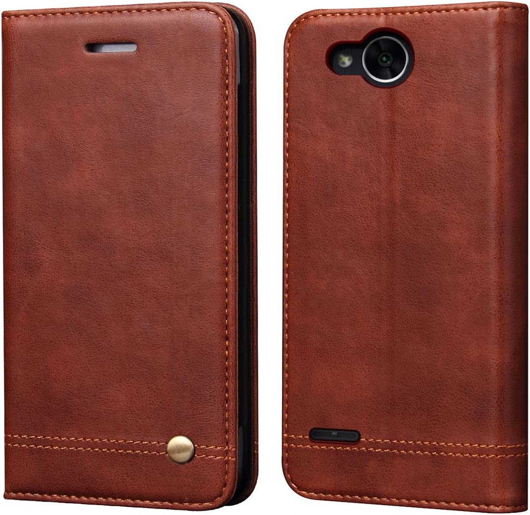 LG X Charge Case,LG X Power 2 Case,LG Fiesta 2/Fiesta LTE/K10 Power/LV7 Case,RUIHUI Luxury Leather Wallet Folding Flip Protective Case Cover with Card Slots,Kickstand and Magnetic Closur (Brown)
