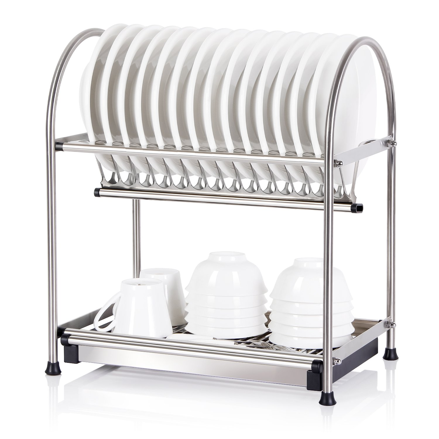 kitchen accessories cutlery multifunctional dish plates tier item storage shelf dishes from holders draining metal rack in racks