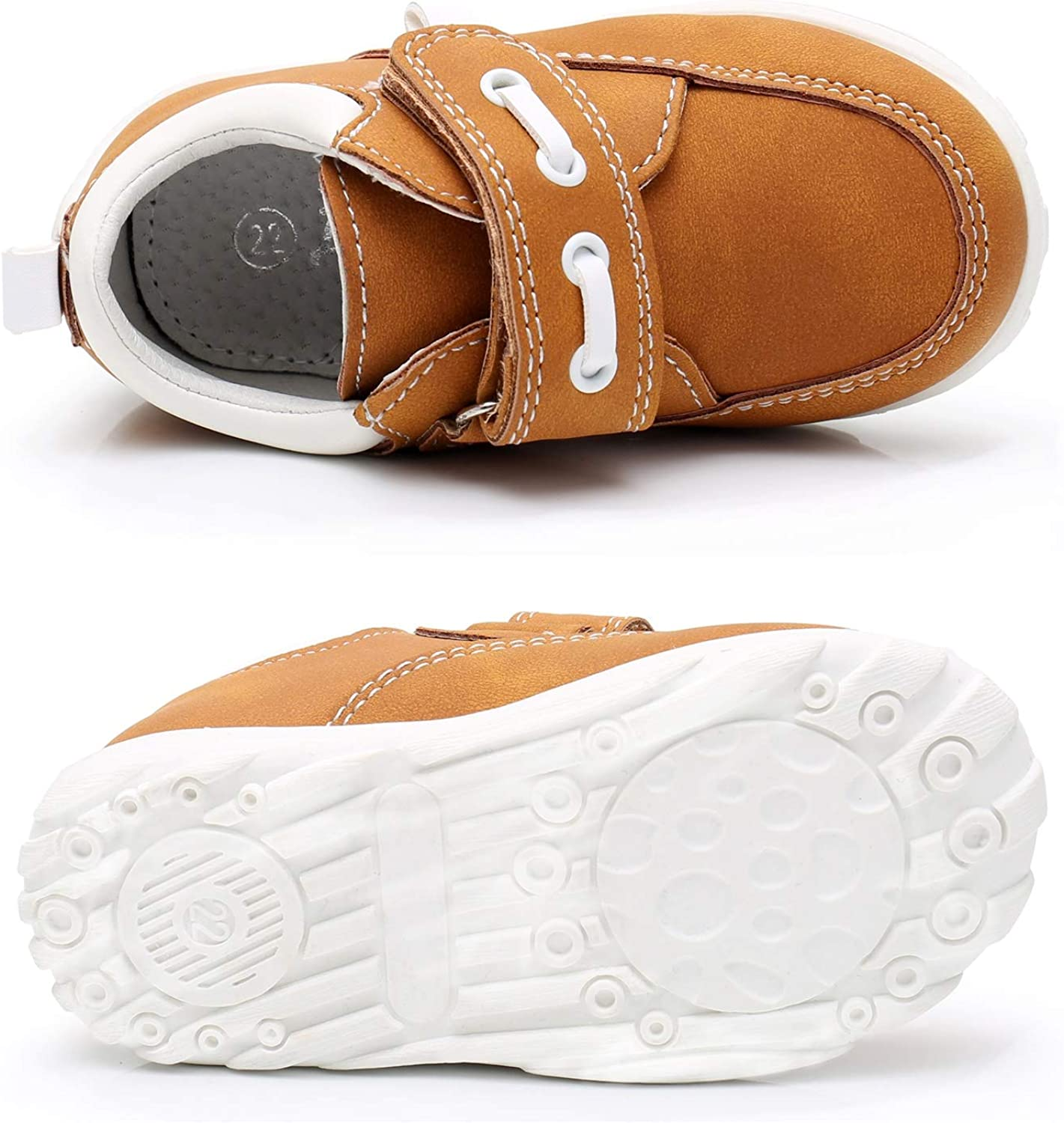 Ahannie Boys Hook /& Loop Loafer Shoes,Toddler//Little Kids Casual Comfort Slip on Moccasin Driving Style Boat Shoe