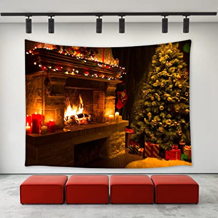 Christmas Fire Place.Amazon Com Christmas Fireplace Tapestry Wall Hanging