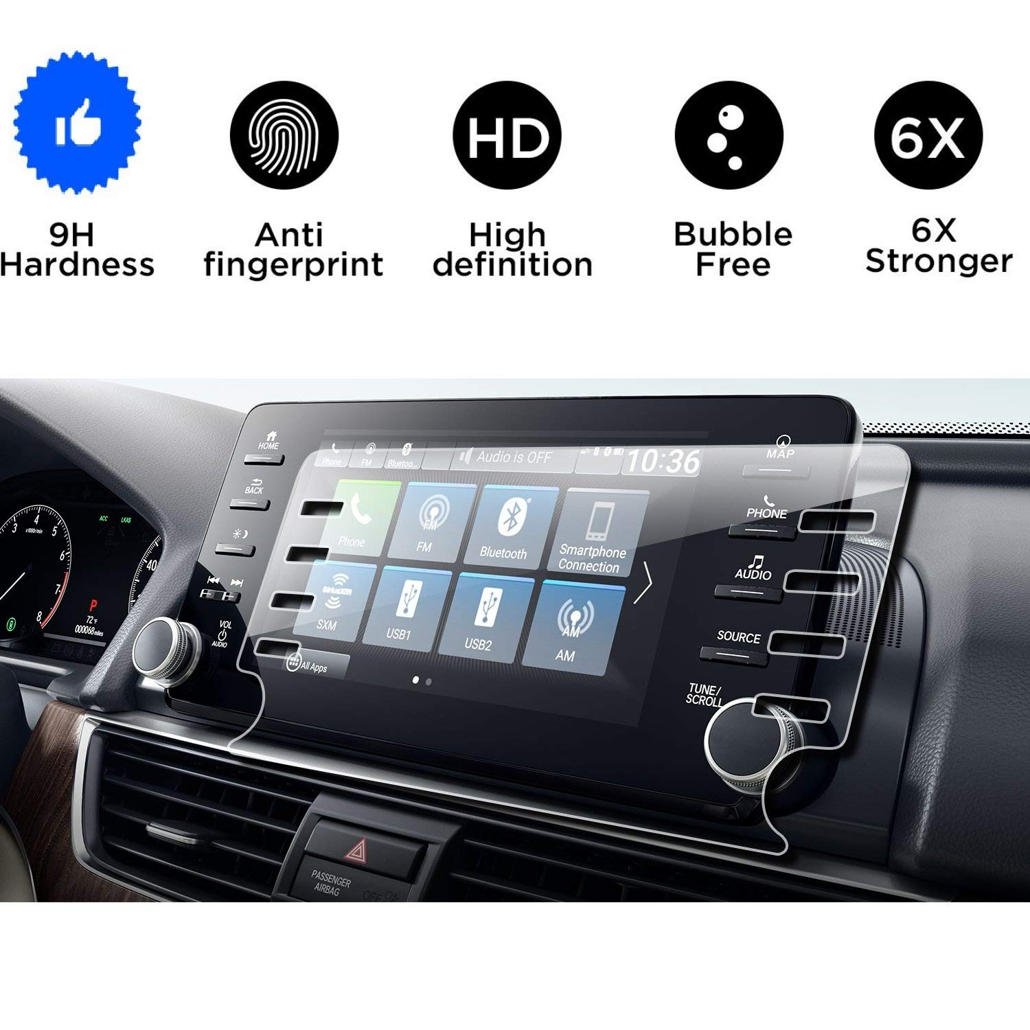 Wonderfulhz Tempered Glass Screen Protector Compatible With 2018 2019 Accord,9H Hardness,High Definition,Protecting Honda Accord 8'' Car Center Touch Screen
