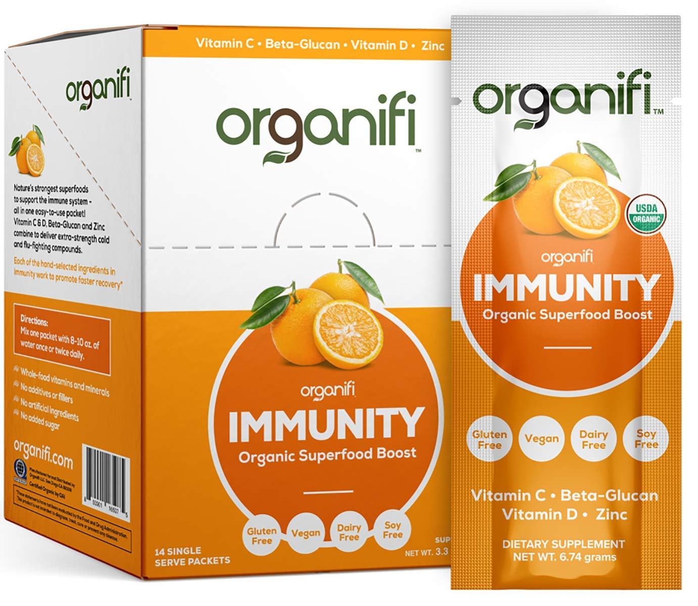 Organifi: Immunity - Organic Superfood Immunity Boost - 14 Single Serve Packets - Cold and Flu Relief - Nourish and Feed Cells - Natural Immune System Support - Vitamin C, D & Zinc by Organifi