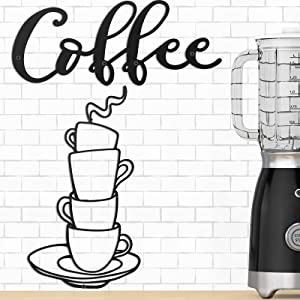 Hotop 2 Pieces Coffee Sign Coffee Cup Metal Wall Art Black Metal Coffee Cup Mug Scrolled Silhouette Metal Wall Art Decor Interior Decoration for Coffee Wall Art, Coffee Bar Sign