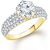 Meenaz Solitaire Ring For Girls & Women Gold Plated In American DiamondFR00470