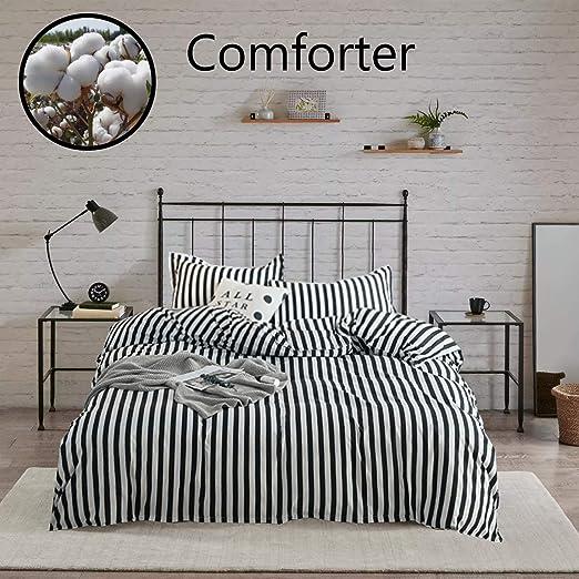 Amazon Com Wellboo Striped Comforter Sets Black And White Stripe