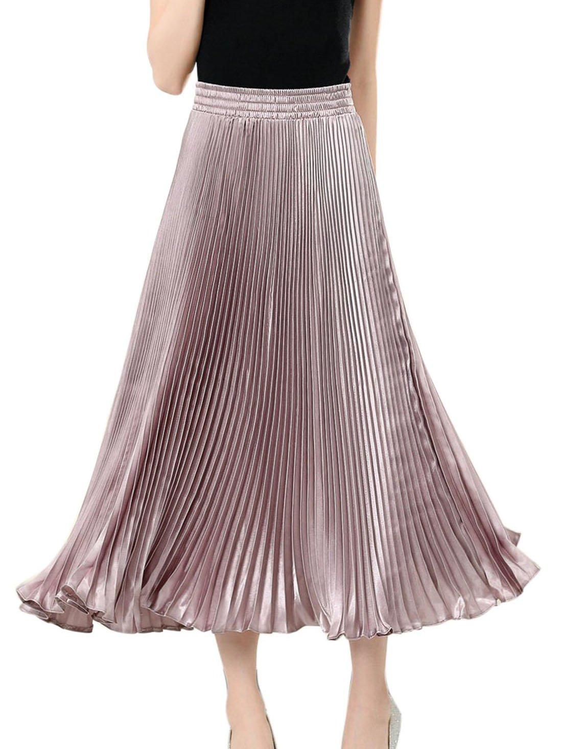 Aivtalk Women Metallic Luster Pleated Skirt Punk Elastic A-line Skirts Dress One Size Pink