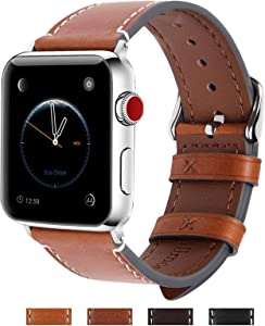 Fullmosa Compatible Apple Watch Band 42mm 44mm 38mm 40mm Genuine Leather iWatch Bands for iWatch Series SE 6 5 4 3 2 1, 38mm 40mm Light Brown + Silver Buckle