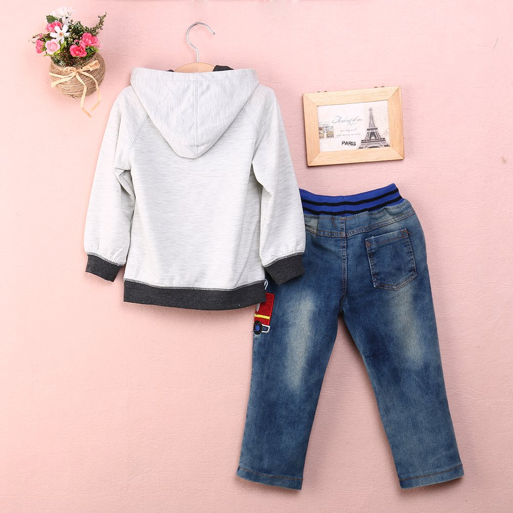 Wheat's baby home @ Boys' 2PCS Set Long Sleeve Hoodie And Jeans (4T)