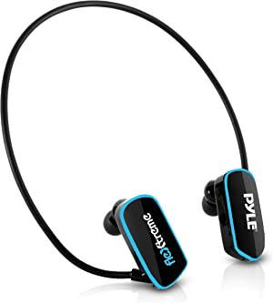 Pyle Upgraded Waterproof MP3 Player - V2 Flextreme Sports Wearable Headset Music Player 8GB Underwater Swimming Jogging Gym Earphones Rechargeable Flexible Headphones USB Connection9 -PSWP14BK