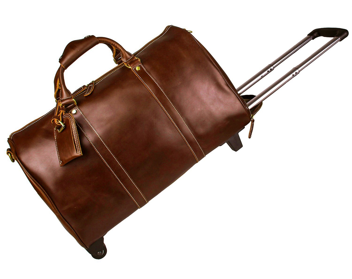 BAIGIO Leather Travel Duffle Bag with Wheels Carry-on Luggage Weekend Duffel Bag (Brown)