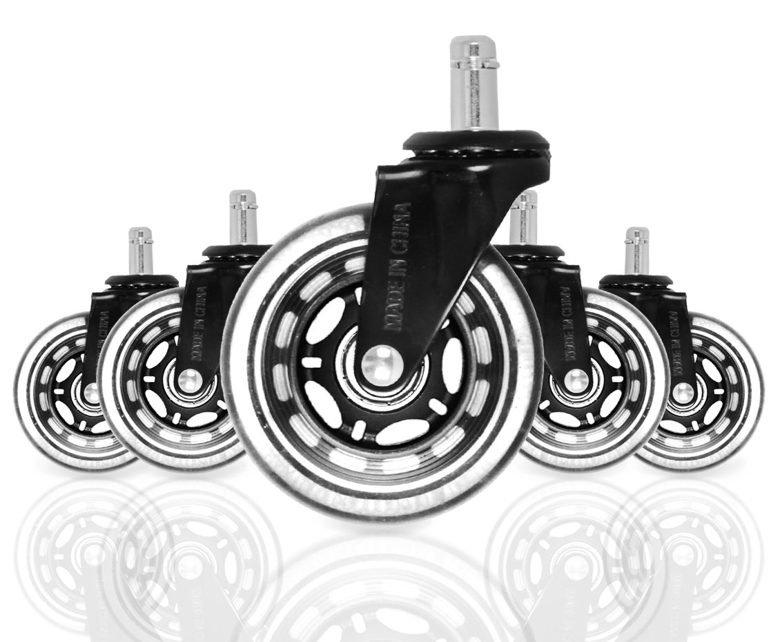 Finnhomy Office Chairs Wheels Replacement 3'' Caster for Hardwood Floor Wheels Set of 5 Gaming Swivel Chair casters Rolling Desk Chair Casters Heavy Duty Black