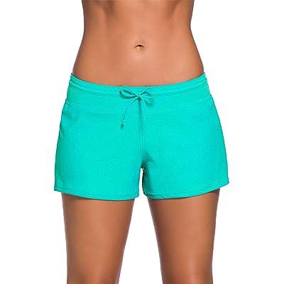 Satinior Women Swimsuit Shorts Tankini Swim Briefs Side Split Plus Size Bottom Boardshort Summer Beach Swimwear Trunks