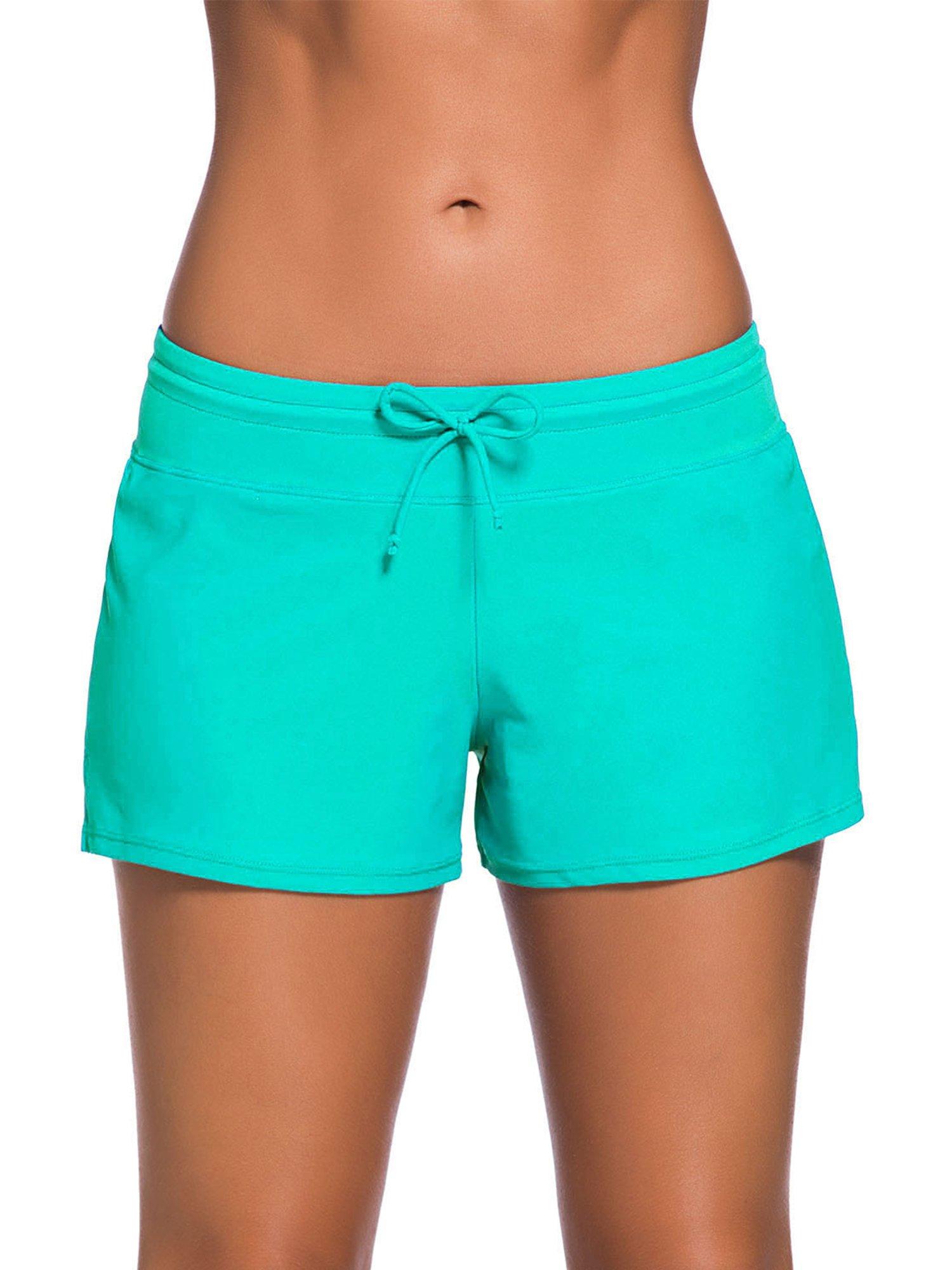 Satinior Women Swimsuit Shorts Tankini Swim Briefs Side Split Plus Size Bottom Boardshort Summer Beach Swimwear Trunks (M Size, Green)