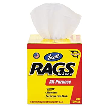 Amazon.com: Scott Rags In A Box (75260), White, 200 Shop Towels per ...