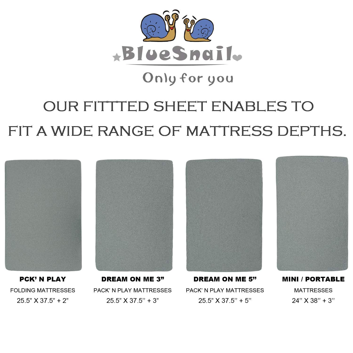 2-Pack, Gray BlueSnail Super Soft and Comfy Crib Sheets for Standard Crib and Toddler Mattresses