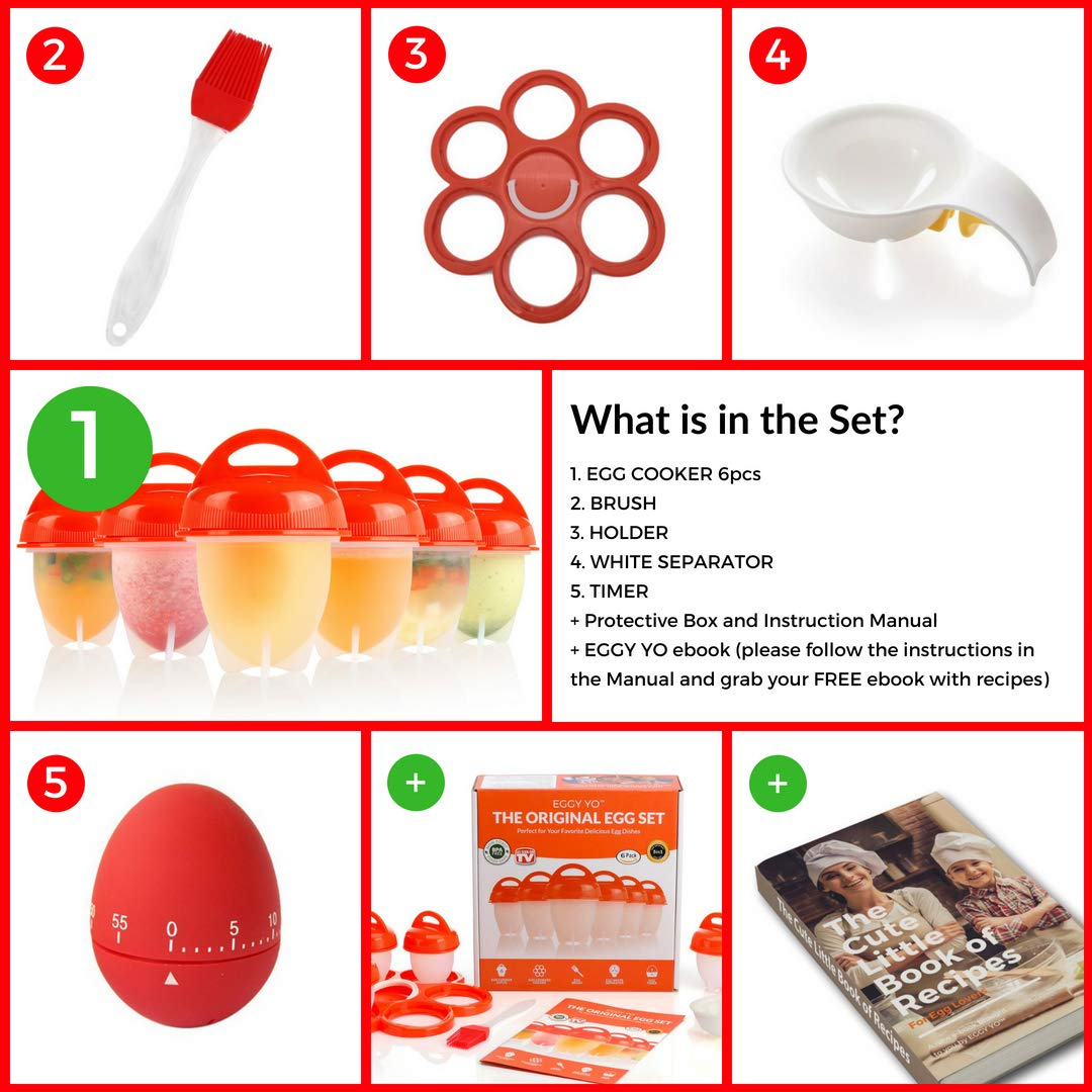 EGGY YO Silicone Hard Boiled Egg Cookers - 6 Egg Cooker Set with Holder and Timer - Egg Boiler No Shell by EGGY YO (Image #2)