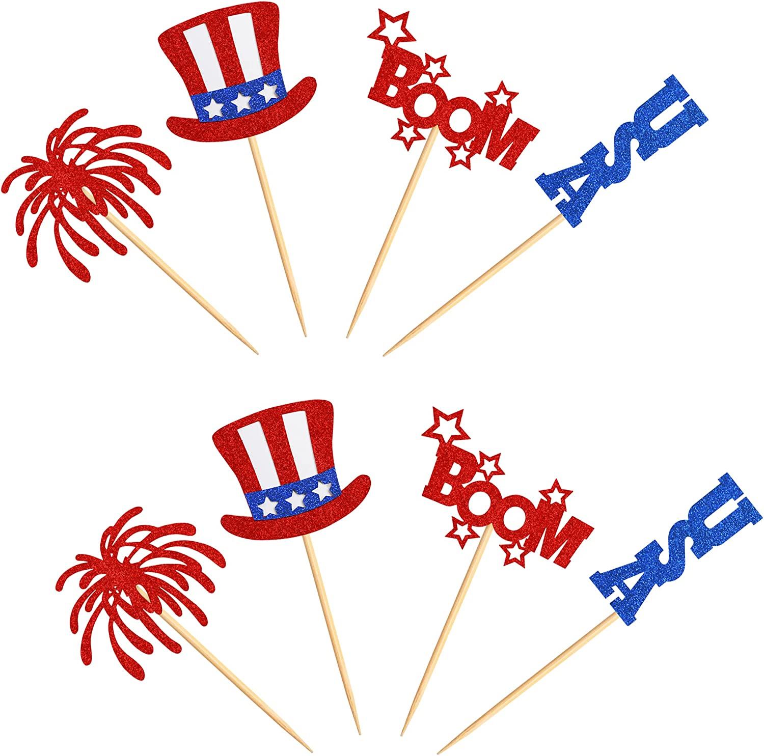 leisure 32 Pcs Independence Day Cupcake Toppers Glitter National ...