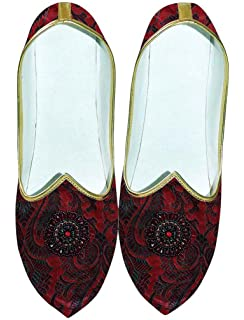 Mens Maroon Wedding Shoes Embroidered MJ0701