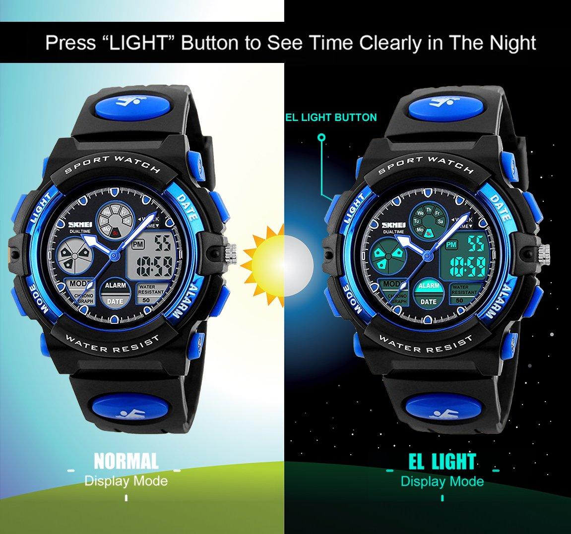 Kids Digital analógico relojes para niños - Childrens deportes al aire libre reloj con alarma/hora Dual/LED luz, 5 ATM impermeable electrónico analógico Sport muñeca relojes para adolescentes